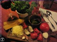 Ingredients for pasta al pesto